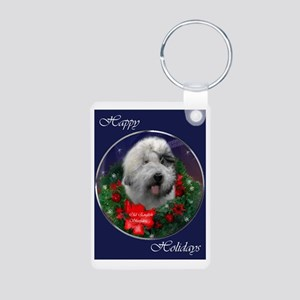 Old English Sheepdog Chris Aluminum Photo Keychain