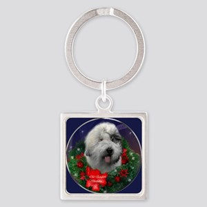 Old English Sheepdog Christmas Square Keychain