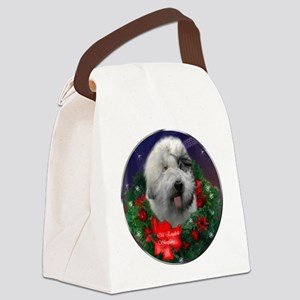 Old English Sheepdog Christmas Canvas Lunch Bag