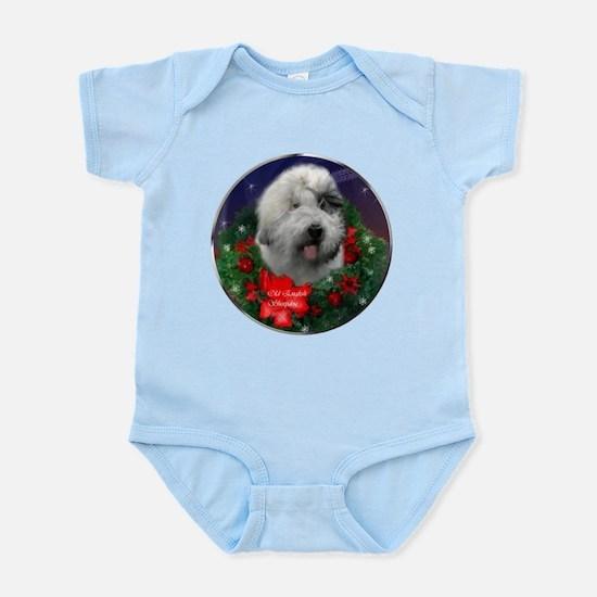Old English Sheepdog Christmas Baby Light Bodysuit