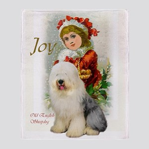 Old English Sheepdog Christmas Throw Blanket