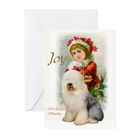Old English Sheepdog Chr Greeting Cards (Pk of 10)