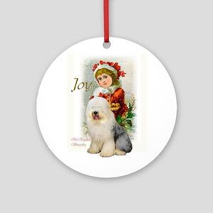 Old English Sheepdog Christmas Round Ornament