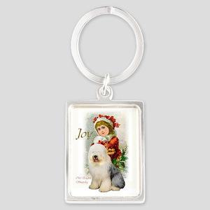 Old English Sheepdog Christmas Portrait Keychain