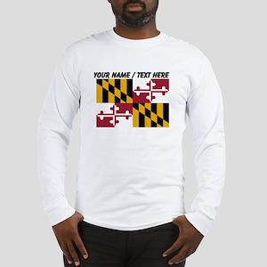 Custom Maryland State Flag Long Sleeve T-Shirt