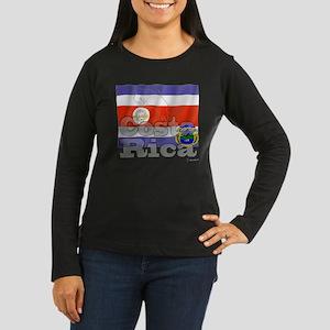 Silky Flag of Costa Rica Women's Long Sleeve Dark