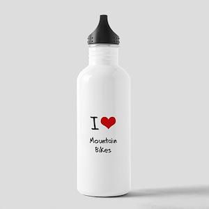 I Love Mountain Bikes Water Bottle