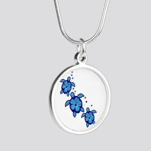Blue Hibiscus Honu Turtles Necklaces