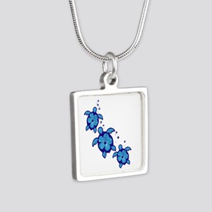 Blue Hibiscus Honu Turtles Necklaces