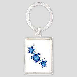 Blue Hibiscus Honu Turtles Keychains