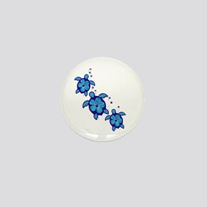 Blue Hibiscus Honu Turtles Mini Button
