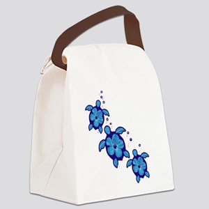 Blue Hibiscus Honu Turtles Canvas Lunch Bag