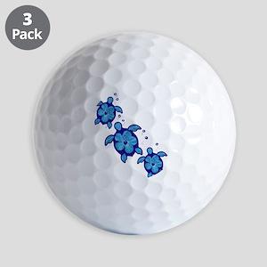 Blue Hibiscus Honu Turtles Golf Ball