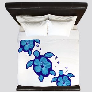 Blue Hibiscus Honu Turtles King Duvet