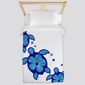 Blue Hibiscus Honu Turtles Twin Duvet