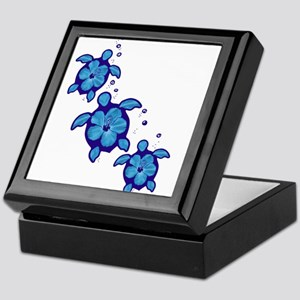 Blue Hibiscus Honu Turtles Keepsake Box