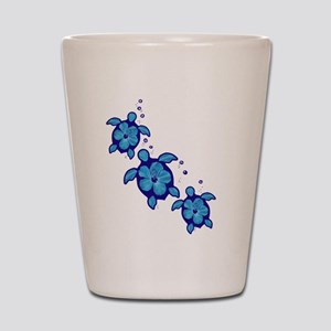 Blue Hibiscus Honu Turtles Shot Glass