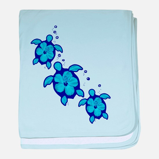 Blue Hibiscus Honu Turtles baby blanket