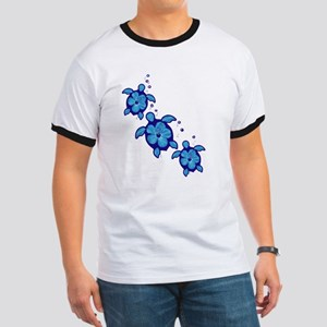 Blue Hibiscus Honu Turtles T-Shirt