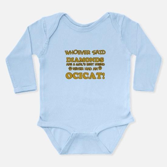 Funny Ocicat designs Long Sleeve Infant Bodysuit