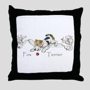 Playful Fox Terrier Throw Pillow