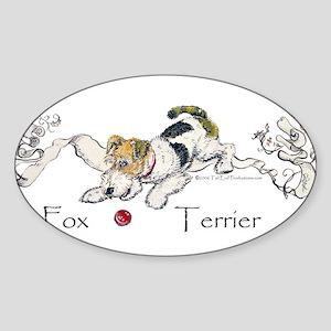 Playful Fox Terrier Oval Sticker