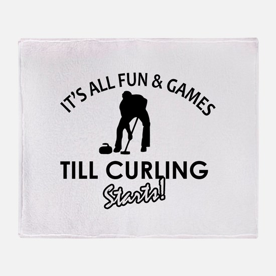 Curling gear and merchandise Throw Blanket