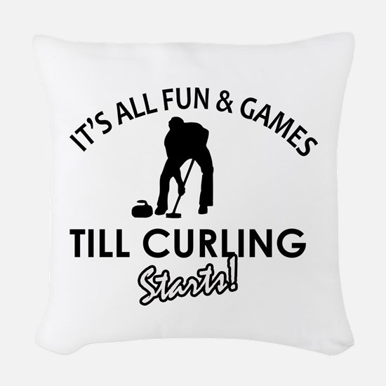 Curling gear and merchandise Woven Throw Pillow