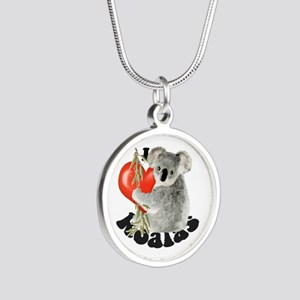I Love Koalas Silver Round Necklace