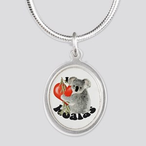 I Love Koalas Silver Oval Necklace