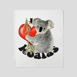 I Love Koalas Throw Blanket