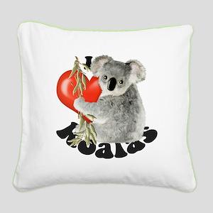I Love Koalas Square Canvas Pillow