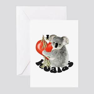 Koala greeting cards cafepress i love koalas greeting cards pk of 20 m4hsunfo