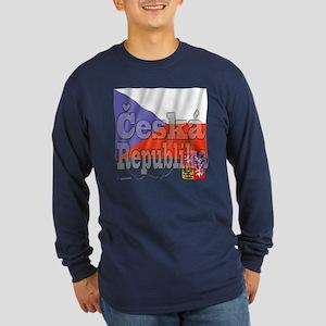 Flag of Ceska Republika Long Sleeve Dark T-Shirt