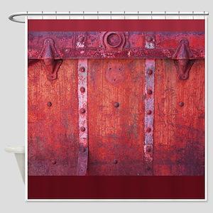 Steampunk Trunk Claret Shower Curtain
