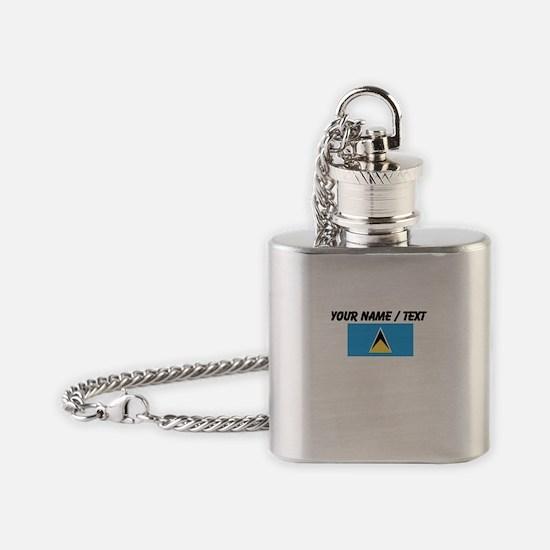 Custom Saint Lucia Flag Flask Necklace