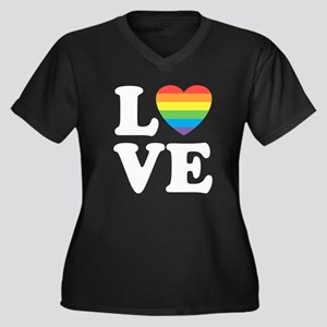 Gay Love Women's Plus Size V-Neck Dark T-Shirt