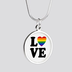 Gay Love Silver Round Necklace