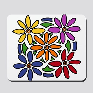 Colorful Daisy Floral Art Mousepad