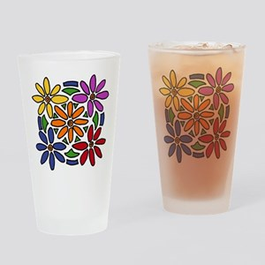 Colorful Daisy Floral Art Drinking Glass