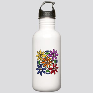 Colorful Daisy Floral Art Water Bottle