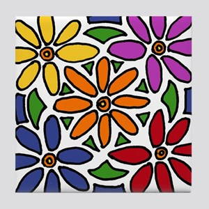Colorful Daisy Floral Art Tile Coaster