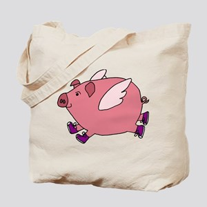 Flying Pig with Sneakers Tote Bag