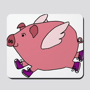Flying Pig with Sneakers Mousepad