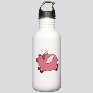 Flying Pig with Sneakers Water Bottle