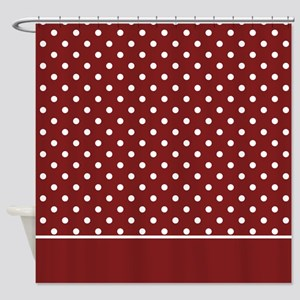 Deep Red with White Dots 2 Shower Curtain