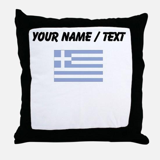 Custom Greece Flag Throw Pillow