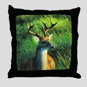 Buck Deer Throw Pillow
