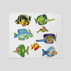 8 Cartoon Fish Throw Blanket