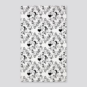 Black & White Damask #21a 3'x5' Area Rug